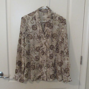 Croft & Barrow Blouse XL Tan Paisley Print